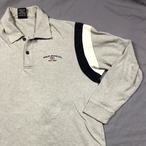 Polo Jeans Co. Long Sleeve Polo Shirt Gray Flag RL